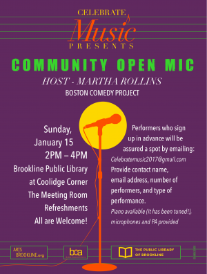 Brookline Community Open Mic January 15