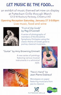 Let Music be the Food art exhibit opening at Putterham Grille, Saturday, January 27.