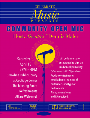 Open Mic at The Meeting Room, Coolidge Corner Library, Brookline